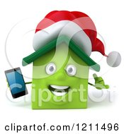 3d Christmas Green Home Mascot Holding A Cell Phone 2