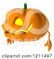 Clipart Of A 3d Halloween Jackolantern Facing Left Royalty Free CGI Illustration by Julos