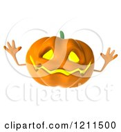 Clipart Of A 3d Halloween Jackolantern Jumping Royalty Free CGI Illustration by Julos
