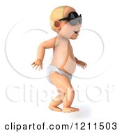 Clipart Of A 3d Caucasian Baby Boy Wearing Sunglasses And Taking His First Steps 2 Royalty Free CGI Illustration