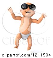 Clipart Of A 3d Caucasian Baby Boy Wearing Sunglasses And Taking His First Steps 3 Royalty Free CGI Illustration