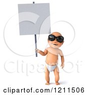 3d Caucasian Baby Boy Wearing Sunglasses And Holding A Sign
