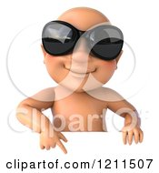 3d Caucasian Baby Boy Wearing Sunglasses And Pointing Down At A Sign