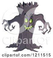 Cartoon Of A Spooky Ent Tree Royalty Free Vector Clipart