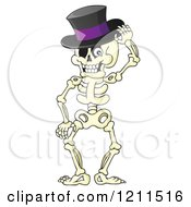 Cartoon Of A Happy Halloween Skeleton Wearing A Top Hat Royalty Free Vector Clipart