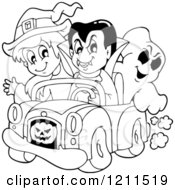 Cartoon Of An Outlined Halloween Witch Vampire And Ghost Riding In A Pickup Truck Royalty Free Vector Clipart