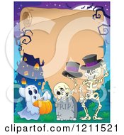 Cartoon Of A Ghost And Halloween Skeletons With Top Hats At A Haunted House Cemetery Over Parchment Copyspace Royalty Free Vector Clipart by visekart