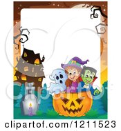 Cartoon Of A Ghost Witch And Vampire In A Halloween Jackolantern Pumpkin Near A Haunted House Over Copyspace Royalty Free Vector Clipart