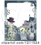Cartoon Of Halloween Skeletons With Top Hats At A Cemetery Over Copyspace Royalty Free Vector Clipart by visekart