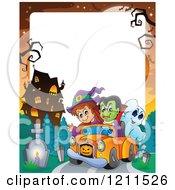 Cartoon Of A Halloween Witch Vampire And Ghost Riding In A Pickup Truck Near A Haunted Mansion Over Copyspace Royalty Free Vector Clipart