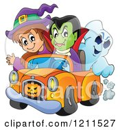 Cartoon Of A Halloween Witch Vampire And Ghost Riding In A Pickup Truck Royalty Free Vector Clipart