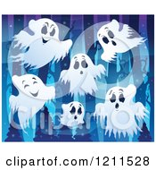 Cartoon Of White Ghosts In A Dark Forest Royalty Free Vector Clipart