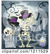 Cartoon Of Halloween Skeletons With Top Hats At A Cemetery Against A Full Moon Royalty Free Vector Clipart by visekart