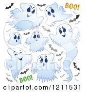 Cartoon Of A White Ghosts With Vampire Bats And Boo On White Royalty Free Vector Clipart