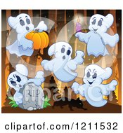Cartoon Of Ghosts With A Cat Pumpkin Candle And Tombstone In The Woods Royalty Free Vector Clipart