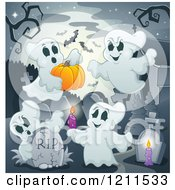 Cartoon Of Ghosts With A Pumpkin Bats And Candles In A Cemetery Royalty Free Vector Clipart