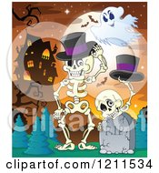 Cartoon Of A Ghost Over Halloween Skeletons With Top Hats At A Cemetery Near A Haunted Mansion Royalty Free Vector Clipart by visekart