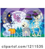 Cartoon Of A Halloween Ghost With A Pumpkin Bat And Skeletons In A Haunted House Cemetery Royalty Free Vector Clipart by visekart