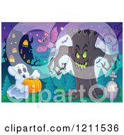 Cartoon Of A Halloween Ghost With A Pumpkin Bat And Ent Tree In A Haunted House Cemetery Royalty Free Vector Clipart