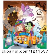 Cartoon Of A Bat Flying Over A Halloween Witch Vampire And Ghost Riding In A Pickup Truck Near A Haunted House Royalty Free Vector Clipart