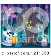 Cartoon Of A Halloween Ghost With A Pumpkin Bat And Ent Tree In A Haunted Forest Royalty Free Vector Clipart