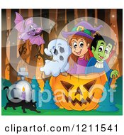 Cartoon Of A Bat Over A Ghost Witch And Vampire In A Halloween Jackolantern Pumpkin With A Cat And Tombstone In The Woods Royalty Free Vector Clipart