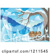 Cartoon Of A Winter Tree And Snow With Houses And A Path Royalty Free Vector Clipart