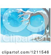 Cartoon Of A Winter Tree In A Snowy Landscape Royalty Free Vector Clipart