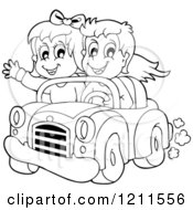 Outlined Happy Boy And Girl Driving In A Red Convertible Car