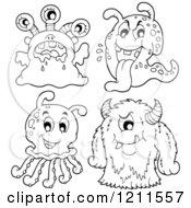 Cartoon Of Four Outlined Monsters Or Aliens Royalty Free Vector Clipart by visekart