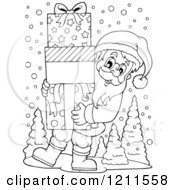 Cartoon Of An Outlined Santa Carrying A Stack Of Gift Boxes Royalty Free Vector Clipart