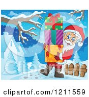 Cartoon Of Santa Carrying A Stack Of Gift Boxes In A Winter Landscape Royalty Free Vector Clipart
