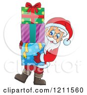 Cartoon Of Santa Carrying A Stack Of Gift Boxes Royalty Free Vector Clipart