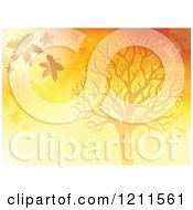 Cartoon Of A Silhouetted Tree And Falling Leaves In Orange Lighting Royalty Free Vector Clipart
