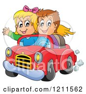 Cartoon Of A Happy Boy And Girl Driving In A Red Convertible Car Royalty Free Vector Clipart
