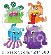 Cartoon Of Four Colorful Monsters Or Aliens Royalty Free Vector Clipart