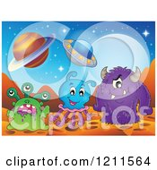 Cartoon Of Monsters Or Aliens On A Foreign Planet Royalty Free Vector Clipart