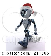Clipart Of A 3d Blue Android Robot Wearing A Santa Hat And Carrying A Shopping Basket Royalty Free CGI Illustration