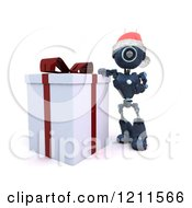 Clipart Of A 3d Blue Android Robot Santa Standing By A Gift Box Royalty Free CGI Illustration