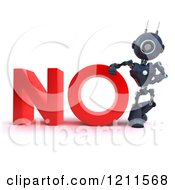 Clipart Of A 3d Blue Android Robot Leaning On NO Royalty Free CGI Illustration