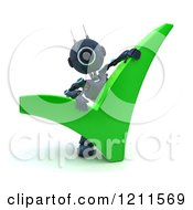 Clipart Of A 3d Blue Android Robot With A Green Check Mark Royalty Free CGI Illustration