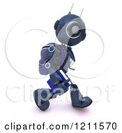 Clipart Of A 3d Blue Android Robot Walking With A Backpack Royalty Free CGI Illustration by KJ Pargeter