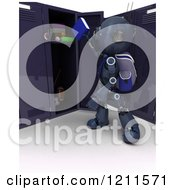 Clipart Of A 3d Blue Android Robot Student Putting A Book In A Locker Royalty Free CGI Illustration by KJ Pargeter