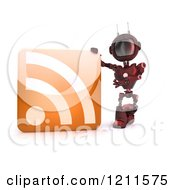 Clipart Of A 3d Red Android Robot With An Rss Feed Icon Royalty Free CGI Illustration