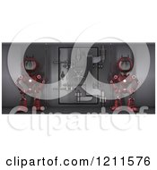 Clipart Of 3d Red Android Robots Guarding A Bank Safe Vault Royalty Free CGI Illustration