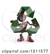 3d Red Android Robot With Green Recycle Arrows