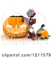 Clipart Of A 3d Red Android Robot With Halloween Pumpkins Royalty Free CGI Illustration by KJ Pargeter