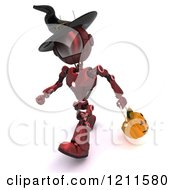 Clipart Of A 3d Red Android Robot Trick Or Treating On Halloween As A Witch Royalty Free CGI Illustration by KJ Pargeter