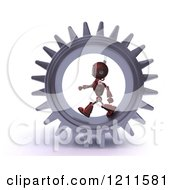 Clipart Of A 3d Red Android Robot Walking In A Gear Royalty Free CGI Illustration by KJ Pargeter