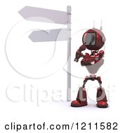 Clipart Of A 3d Red Android Robot Thinking Under A Street Sign Royalty Free CGI Illustration by KJ Pargeter